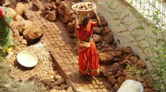 Women at indian construction site Stock Footage