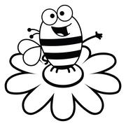 Bee Standing On A Flower-Black and White - stock illustration