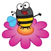 Bee Standing On A Flower-Color - stock illustration