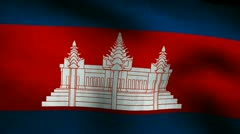 Cambodia country flag. Stock Footage
