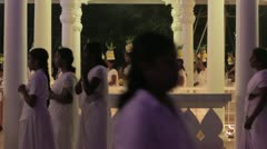 Offering ceremony with handmade candles in ashram Stock Footage