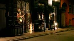 Flowershop by night Stock Footage