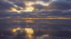 Beautiful Cloudy Reflective Beach Sunset Wide - Enhanced Stock Footage