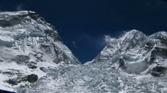 Zoom in on top of Khumbu icefall - stock footage