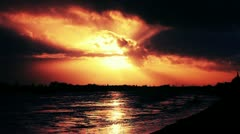 Dramatic Clouds Timelapse Sunset over Rhine River - stock footage