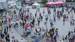 City square, people walking timelapse (time-lapse) Stock Footage