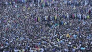 Great unrecognizable crowd (thousands of soccer football) fans shouting for goal Stock Footage