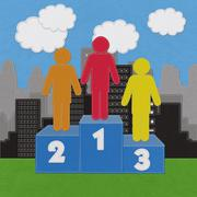 Winner podium with stitch style on fabric background Stock Illustration