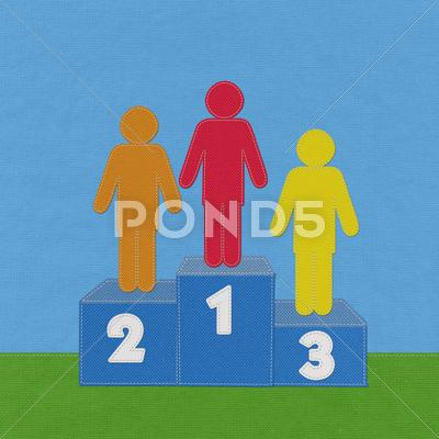 Stock Illustration of winner podium with stitch style on fabric background