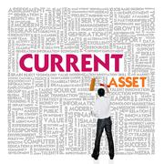 Business word cloud for business and finance concept, current asset Stock Illustration