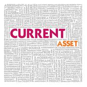 business word cloud for business and finance concept, current asset - stock illustration
