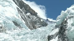 Pull back from Khumbu icefall - stock footage