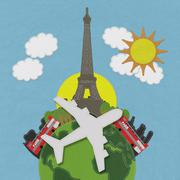 Eiffet travel concept with stitch style on fabric background Stock Illustration