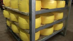 Plant for the production of cheese. cheese packaging Stock Footage