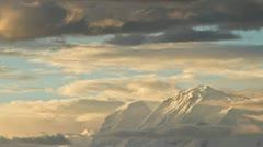 Huescaran as sun sets on its peak Stock Footage