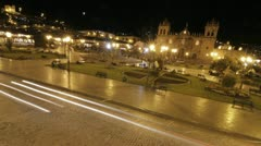 Plaza de armas at night in Cusco Stock Footage