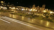 Stock Video Footage of Plaza de armas at night in Cusco