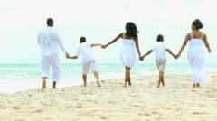 Loving Ethnic Family Walking Linked Hands Beach Stock Footage