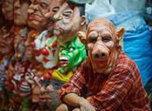 Seller latex masks for halloween on open market Stock Photos