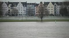 Düsseldorf Posh District on Rhine River Stock Footage