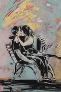 Stock Illustration of kiss, graffiti on rome's wall