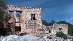 Ramshackle stone house Stock Footage