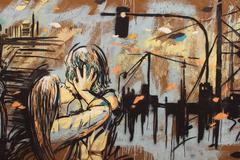 Kiss, graffiti on rome's wall Stock Illustration