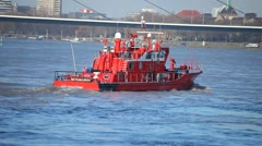 Stock Video Footage of Fireboat Rushes on Rhine
