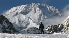 Climber looking up at his goal, Denali Stock Footage