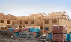 construction of new homes - stock photo