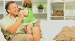 Caucasian Father Baby Daughter Play Time Stock Footage