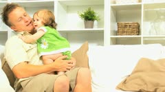 Happy Young Father Pre School Daughter Home Stock Footage