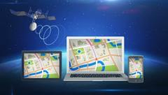GPS satellite and mobile devices Stock Footage