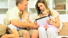 Caucasian Parents Children Wireless Tablet Stock Footage