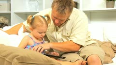 Caucasian Father Young Child Wireless Tablet Stock Footage