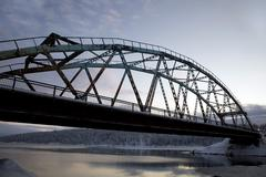 Road bridge over the arctic circle Stock Photos