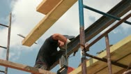 Roofing works - welder working Stock Footage