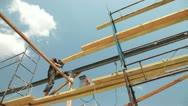 Roofing works - welder working Stock Footage