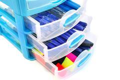 Stationery drawer Stock Photos