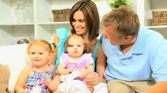 Little Girls Caucasian Parents Games Console - stock footage