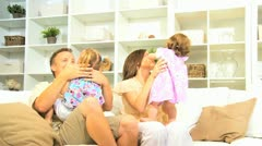 Young Caucasian Family Together Home Stock Footage