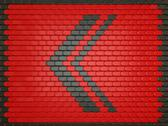 Turn left. red leather background with arrow sign Stock Illustration