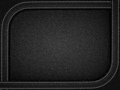 Black leather background with rounded stitched frame Stock Illustration