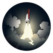 Launch of space shuttle Stock Illustration