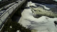 Aerial of Spring Waterfall and Snow Melting Stock Footage
