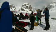 Stock Video Footage of Clambers getting ready, peak behind Denali