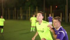 Football forward header (shot on goal). Team playing soccer Stock Footage
