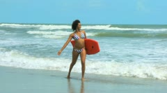 Beautiful African American Girl Body Board Stock Footage