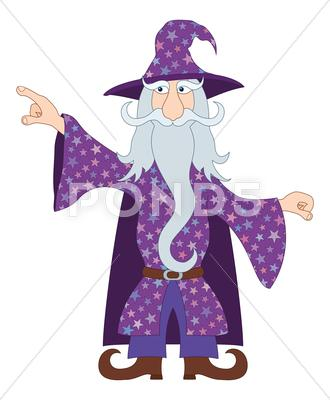 Stock Illustration of Wizard points his finger at something