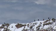 Stock Video Footage of Climbers on west ridge with sea of clouds